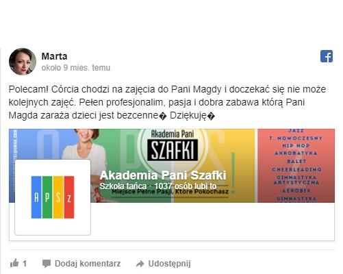 szkoła tańca wMarkach - opinie oAkademii Pani Szafki
