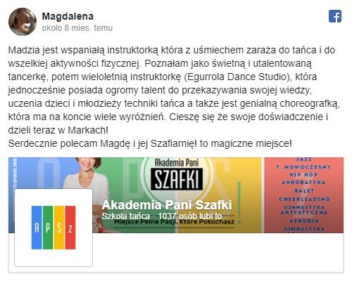 opinie oszkole tańca Akademia Pani Szafki Marki